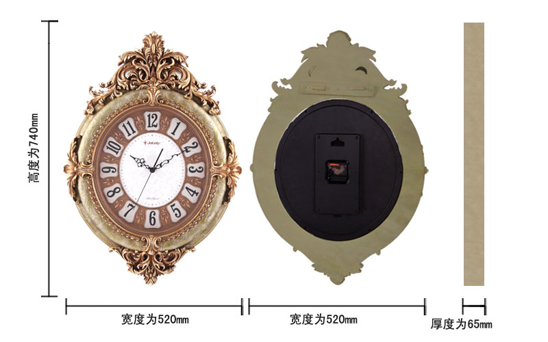 欧式田园时尚创意钟表 欧式仿古树脂雕刻工艺品挂饰
