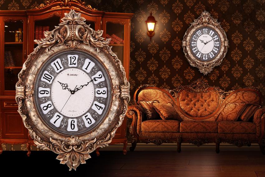 欧式皇家风格客厅卧室静音挂钟 高档树脂雕刻艺术挂钟